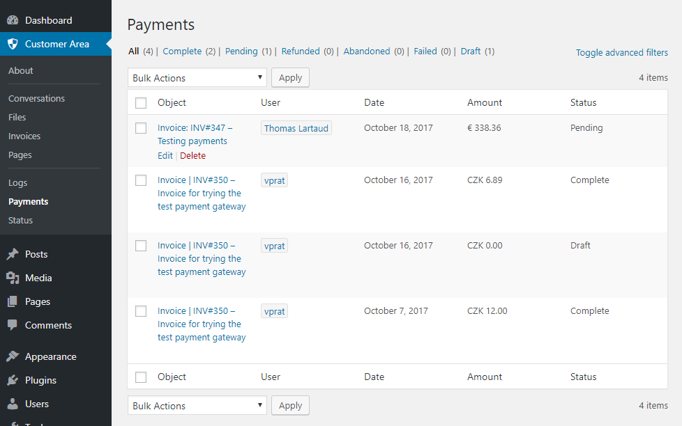 WP Customer Area New payments listing page