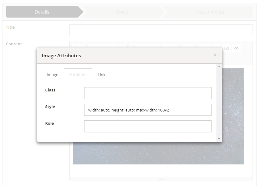 Front-office publishing - editing image attributes