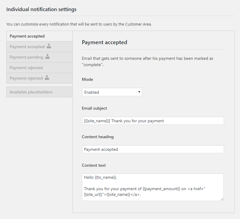 WP Customer Area Payments notifications