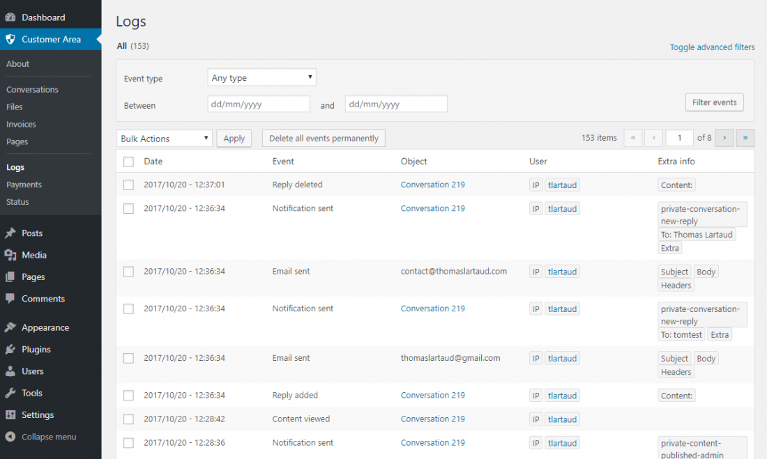 WP Customer Area Actions logs