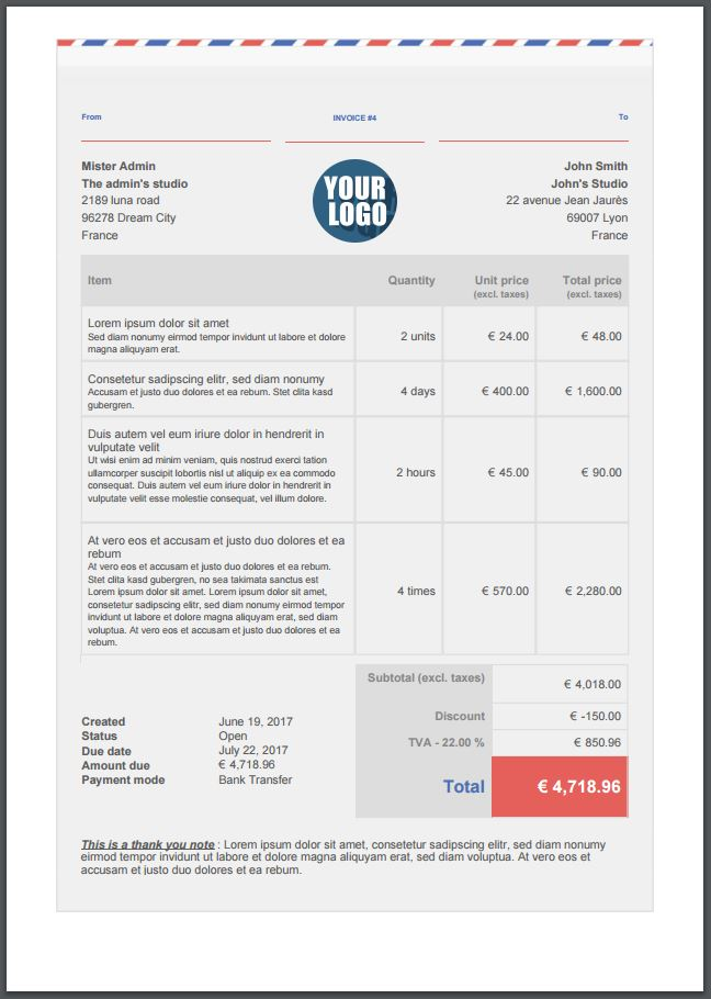 Design Extras - invoicing PDF template options