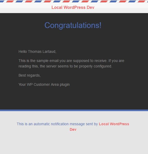 Design Extras Airmail notification template