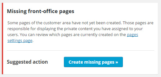 Notification about missing pages
