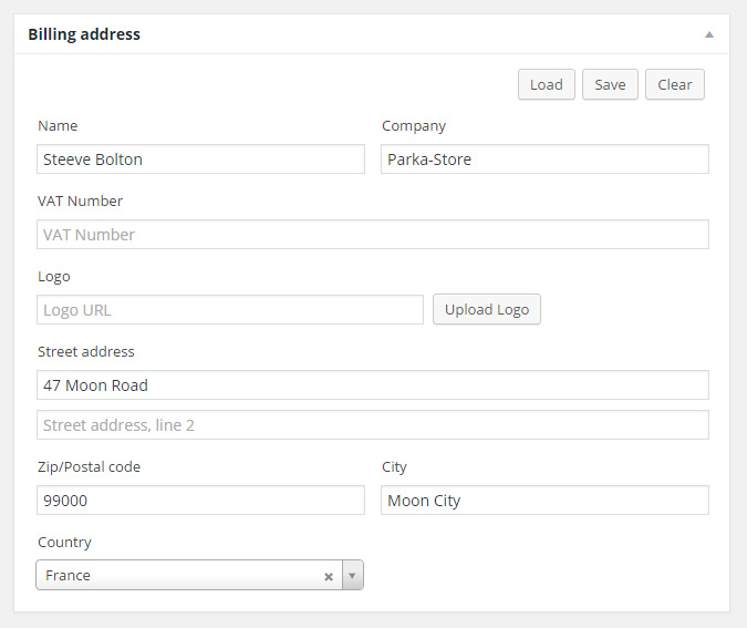 """Click on the """"Load"""" button to grab billing address datas from the user profile."""