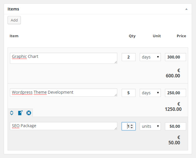 Manage invoice items