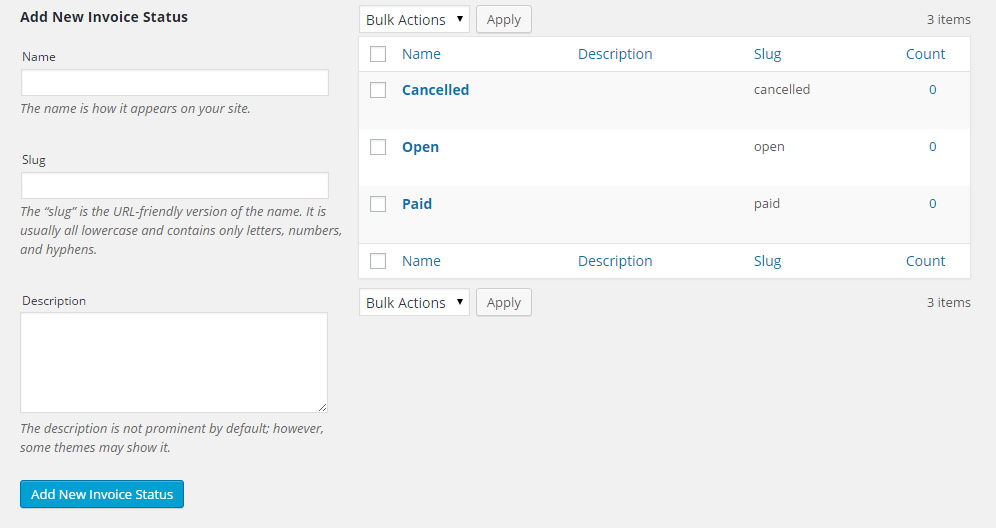 Manage invoices statuses