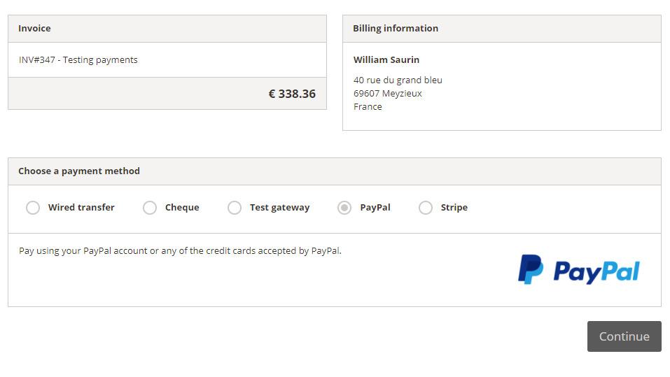 WP Customer Area PayPal Gateways – checkout