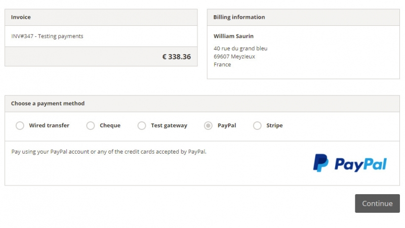 WP Customer Area PayPal Gateway - checkout