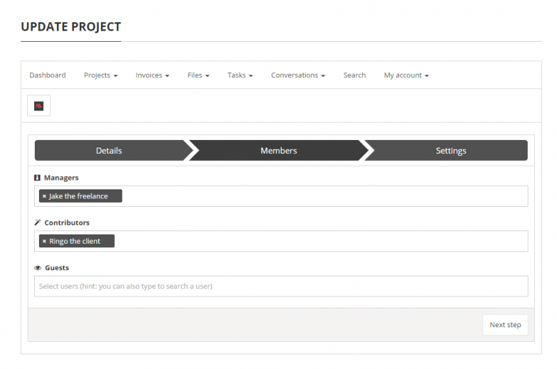 Projects - project edition page (1/2)