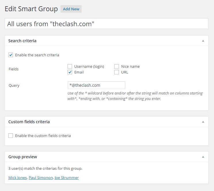 Smart Groups - creating a group based on email addresses